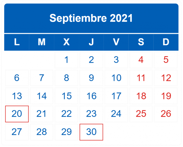 calendario contribuyente 2021